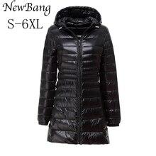 5XL 6XL женские длинные Зимнее теплое длинное пальто Для женщин ультра легкий Куртка–пуховик на 90% белом утином пуху с мешком Для женщин пальто плюс 9 Цвета