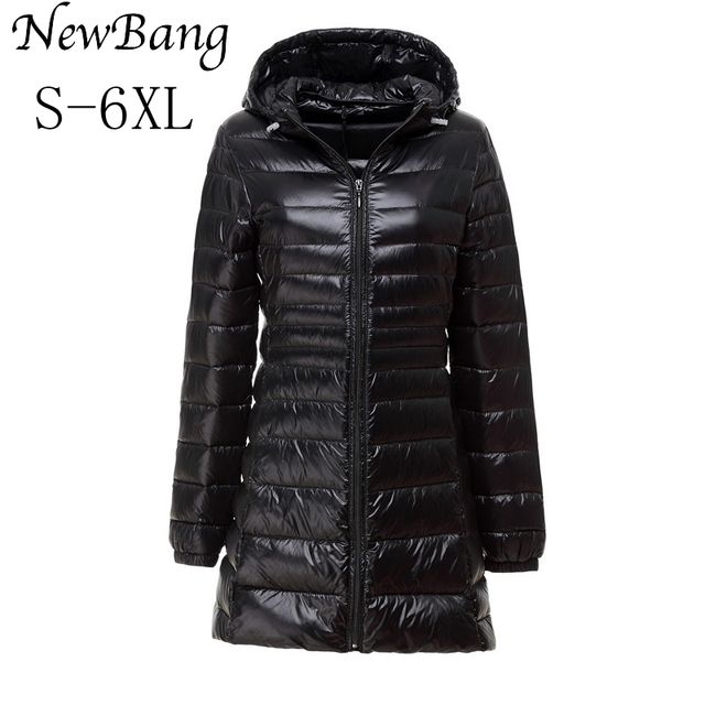 5XL 6XL Ladies Long Winter Warm Down Coat Women Ultra Light 90% White Duck Down Jacket With Bag Women's Overcoats Plus 9 Colors