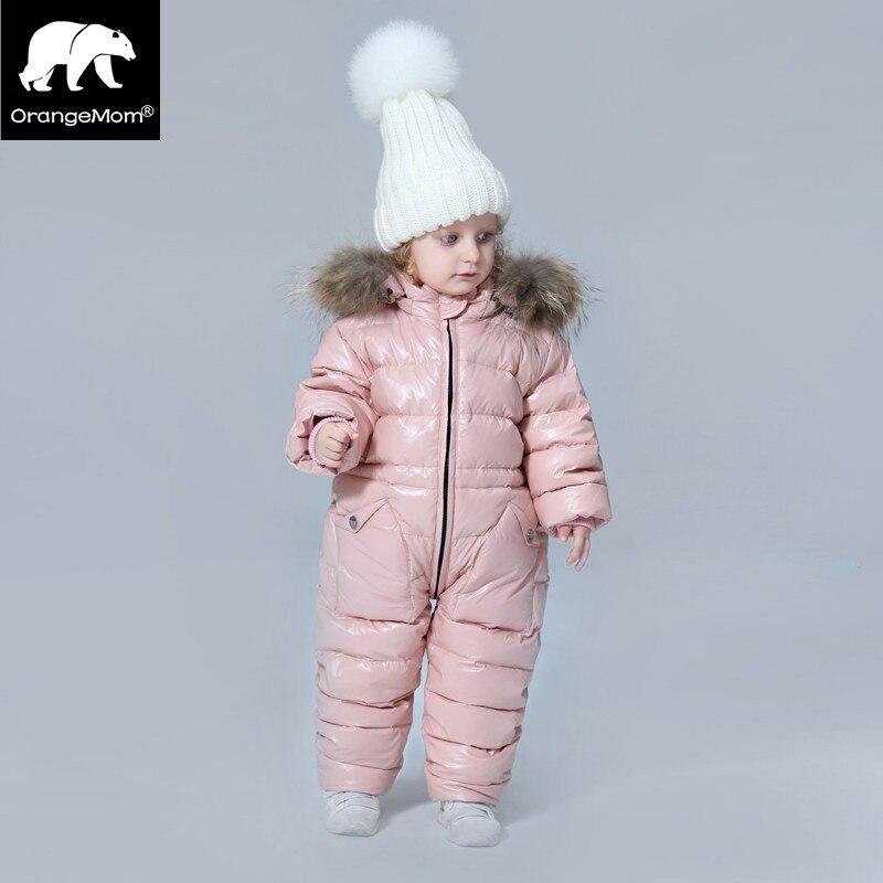 -30 градусов русская зима детская одежда пуховая куртка для мальчиков куртки, утолщаются Водонепроницаемый комбинезоны для девочек Костюмы