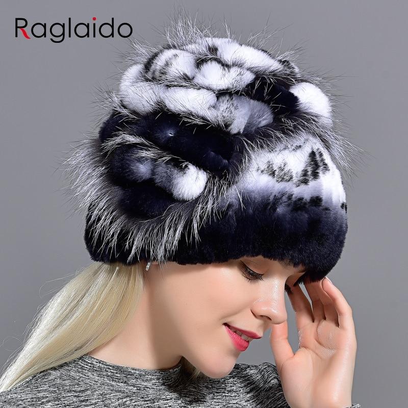 Жіноча хутряна шапочка з хутра зимова тепла мода Шапочки з шапки лисиці хутряні шапки ручної роботи трикотажні головні убори gorro Caps LQ11143