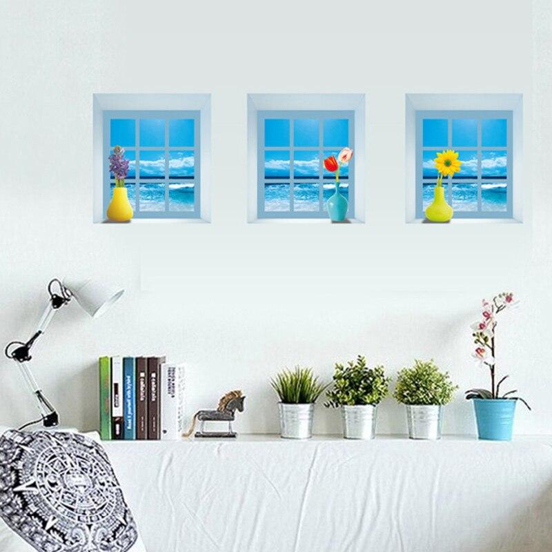 3d обои аниме герои Халк фальш окно Средиземное море Обувь для девочек стены комнаты наклейки спальня гостиная декоративные фрески