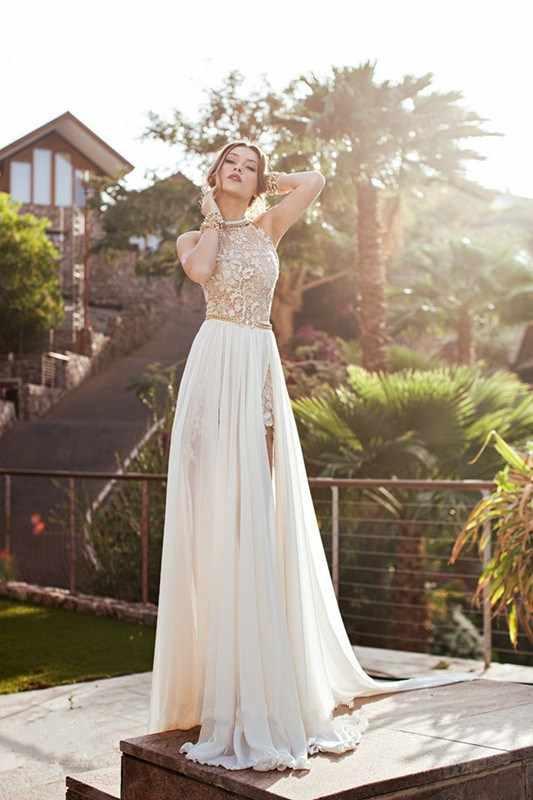 Модное шифоновое платье с кружевами в стиле пэчворк вечерние платье с лямкой на шее, тонкое, без рукавов, длинное платье, Элегантное летнее Для женщин высокое Разделение Сетчатое платье Vestidos
