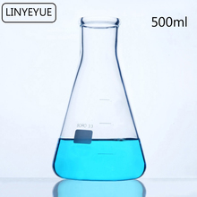 LINYEYUE 500 мл стеклянная коническая колба химия эрленмейер колба боросиликатное высокотемпературное сопротивление лабораторное оборудование