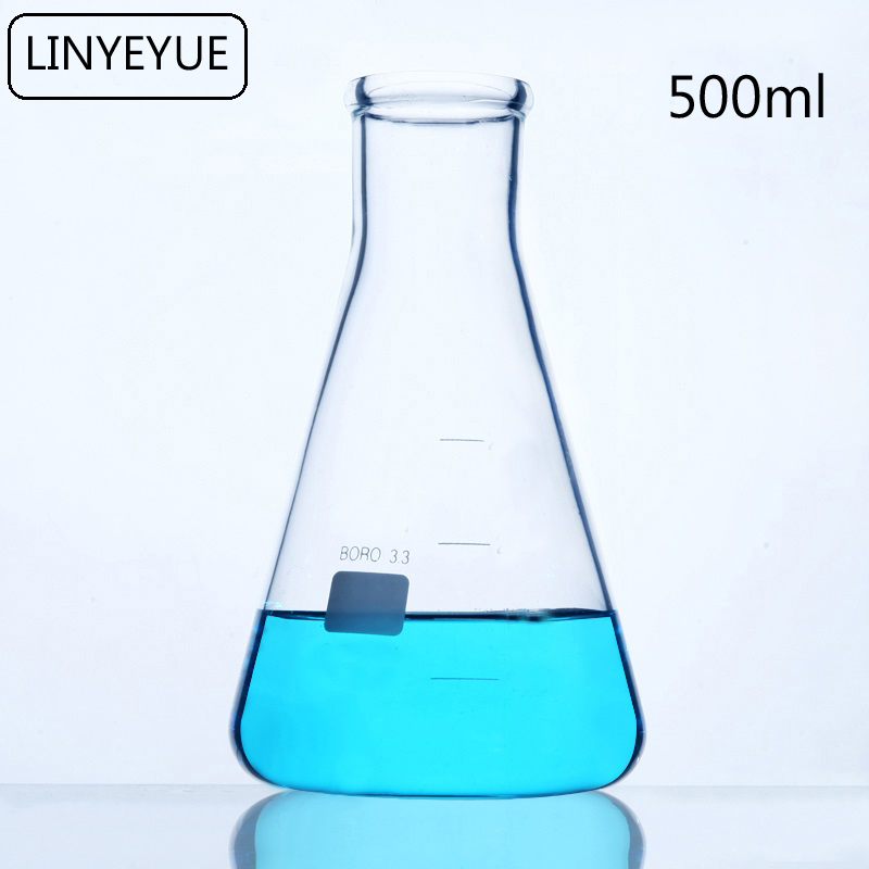 LINYEYUE 500mL Glass Conical Flask Chemistry Erlenmeyer Flask Borosilicate High Temperature Resistance Laboratory Equipment