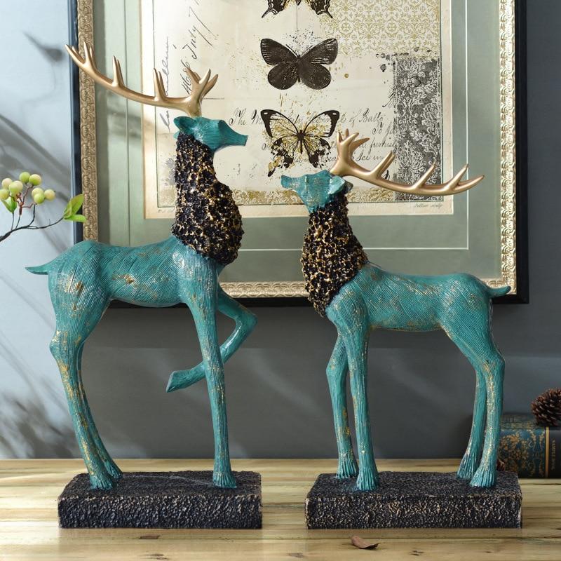 Creative Deer Elk Crafts European Elk Ornaments Living Room Hotel Home Decorations Decorative