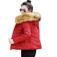 2019 New Winter Jacket Women Faux Fur Hooded Parka Coats Female Long Sleeve Thick Warm Snow Wear Jacket Coat Quilted Tops D269