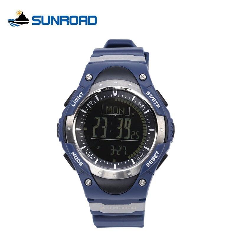 где купить SUNROAD Digital Watch Men Altimeter Multifunction Blue Watches Alarm Compass Pedometer World Time Backlight Relogio Masculino по лучшей цене