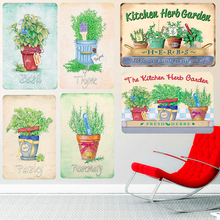 Kitchen Herb Garden Vintage Metal Tin Signs Outdoor Decoration Plaque Basil Thyme Parsley Plates Wall Art Painting Home Decor