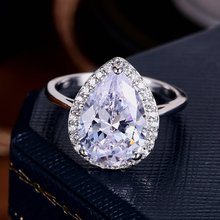 ZHE FAN Female Wedding Finger Ring For Women White Tear Drop Cubic Zirconia Jewelry Ring Rhodium Plated Size 6 7 8 9 Top Quality