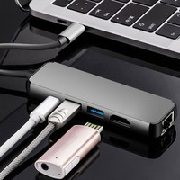 Type C to HDMI USB3.0*2 Ethernet Lan RJ45 PD Adapter Cable USB3.1 Converter For Macbook Pro Dell XPS13 15 Xiaomi Air USB C Hub
