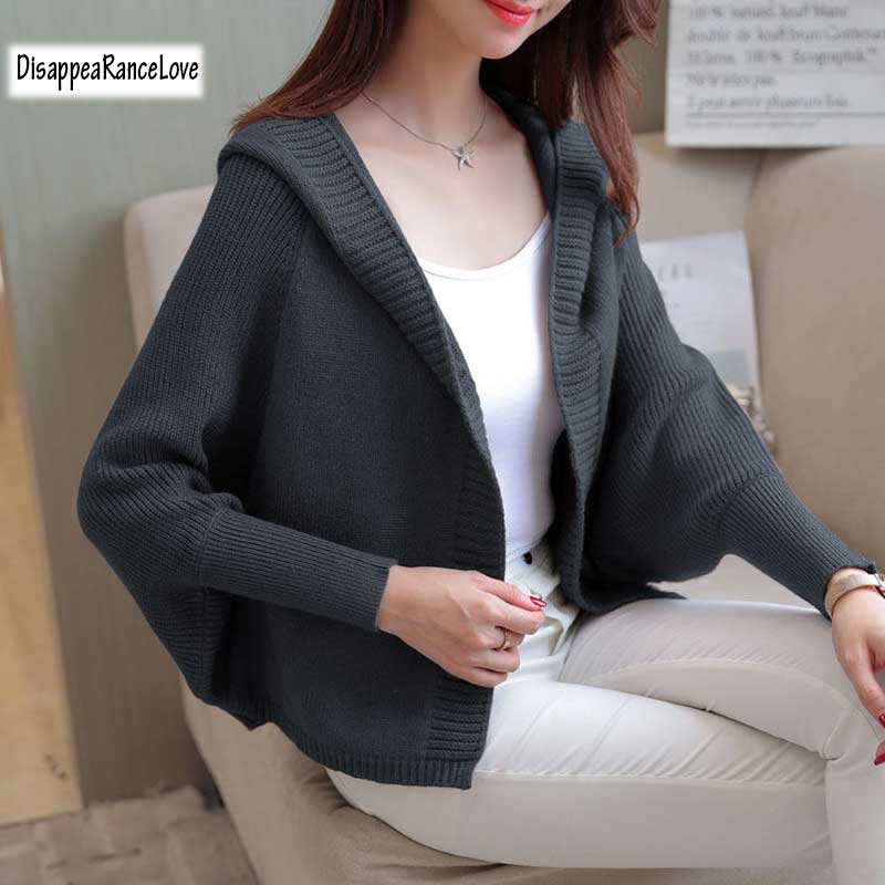 Short design batwing sleeve sweater outerwear autumn 2018 womens loose with a hood cardigan female