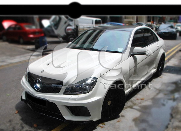 Frp fiber glass in portion carbon fiber black series style for Mercedes benz c300 windshield replacement