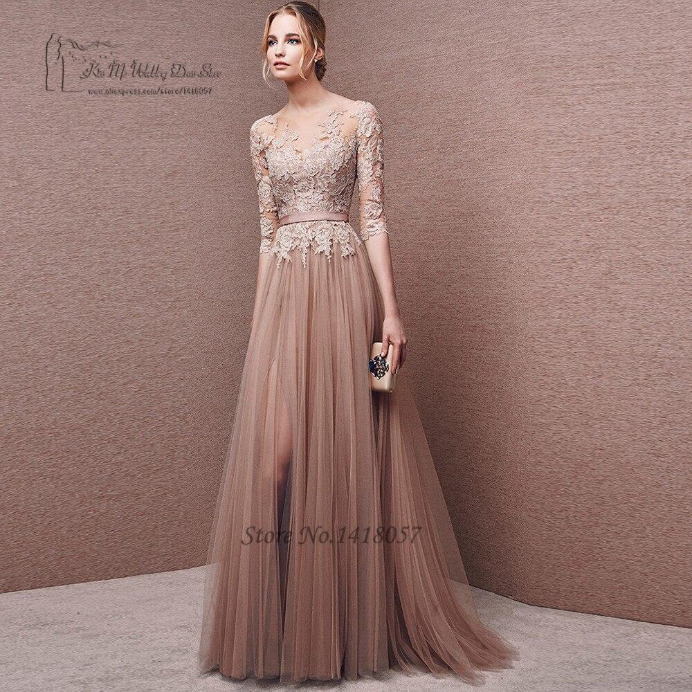 Vestidos de Festa Brown Lace Long Evening Gowns Abendkleider 2017 Tulle  Formal Women Prom Dresses Courte Abiye Gece Elbisesi 030666208080