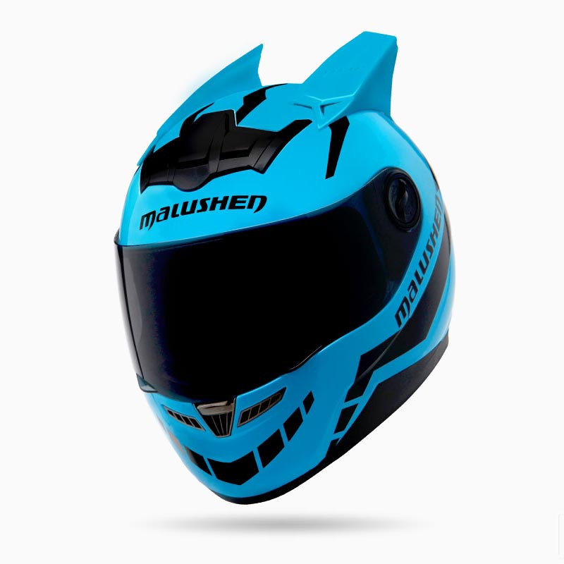 Motorcycle helmet Blue color with horns full face helmet off road asque moto casco professional rally racing helmet