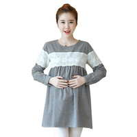 Pregnant Woman Spring O Neck Long Sleeve Lace Patchwork A Line Plaid Long Blouse Tees Maternity Cotton Shirts Tops Pregnancy New