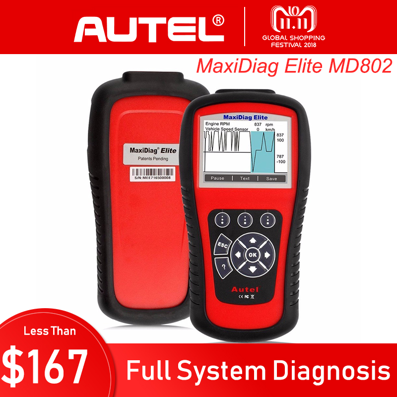 цена на AUTEL MaxiDiag Elite MD802 All System Diagnostic Tool Auto Code Reader Scanner for ABS/SRS/Engine/Transmission/EPB/Oil Reset