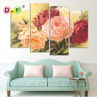 Full Diamond Painting Peony Comes With Blooming Flowers Diy Diamond Embroidery 4sets For The Bedroom Best