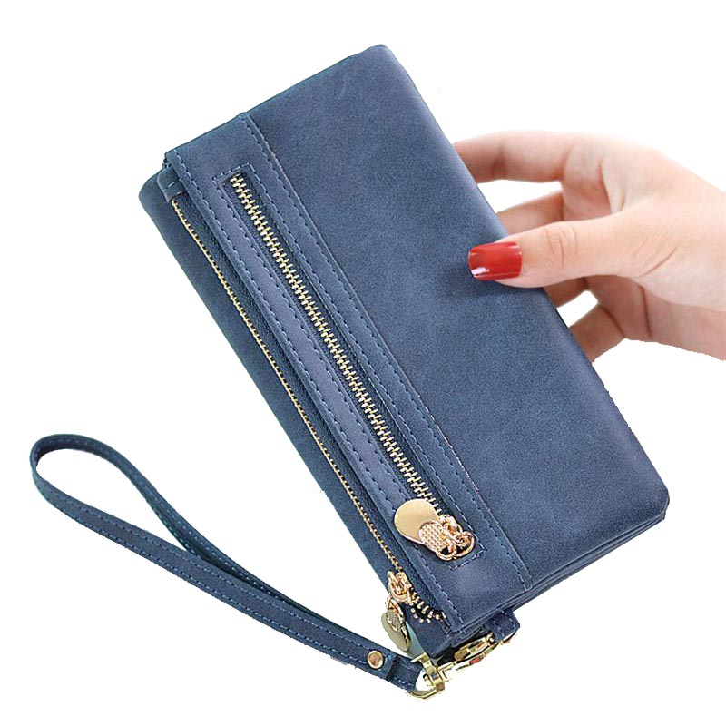 Fashion Women's Purse PU Leather Wallet Women Long Design High Capacity Double Zippers Female Clutch Coin Purse Lady Wristlet