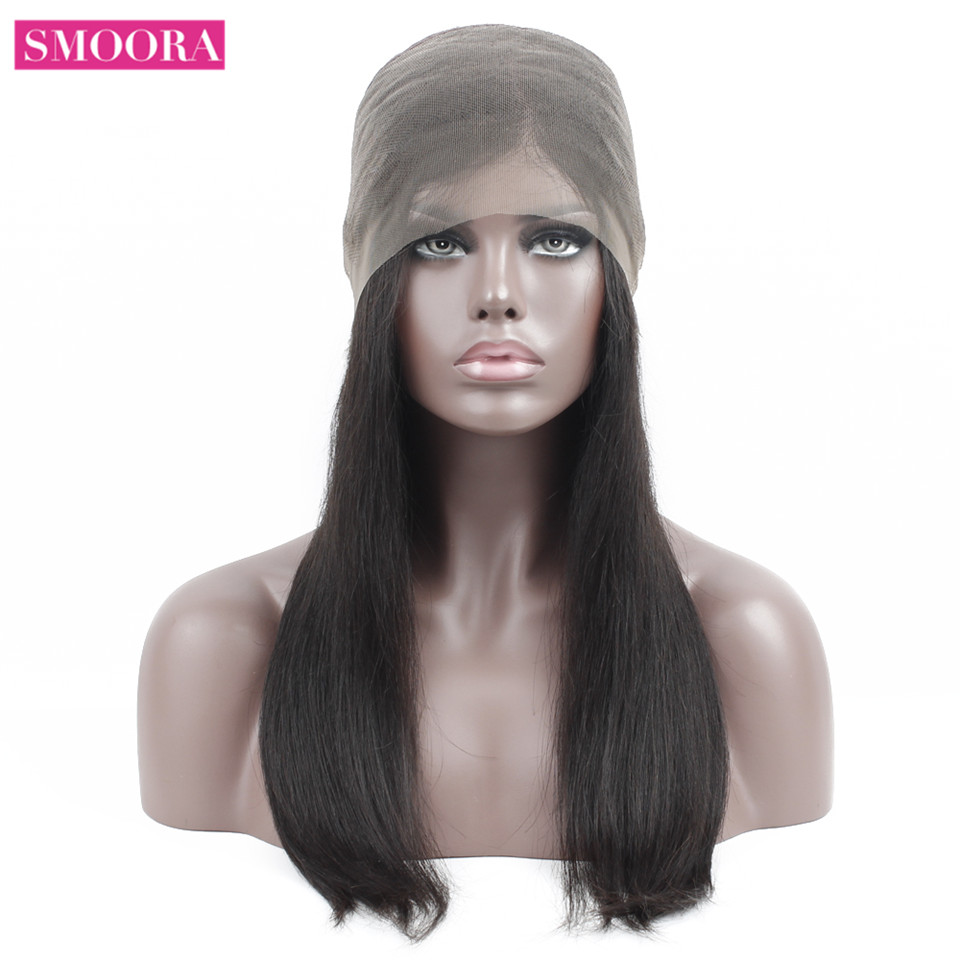 SMOORA Straight 360 Lace Frontal Wigs With BabyHair 150 Density 360 Lace Front Human Hair Wigs