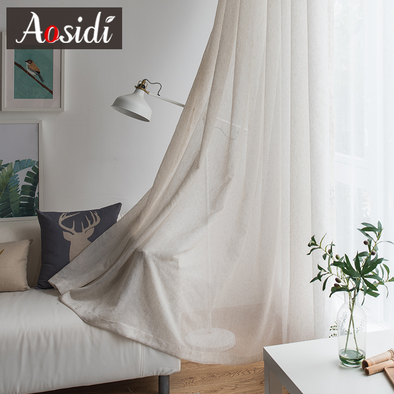 Beige Linen Tulle Curtains For Living Room Modern Flax Sheer Curtains For Bedroom Solid Voile Curtain For Children Window Drapes