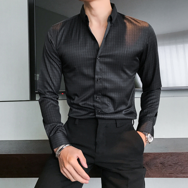 British Style Men Shirt Business Formal Wear Plaid Dress Shirts Mens Long Sleeve Slim Fit Casual Blouse Homme Autumn Men Clothes 3