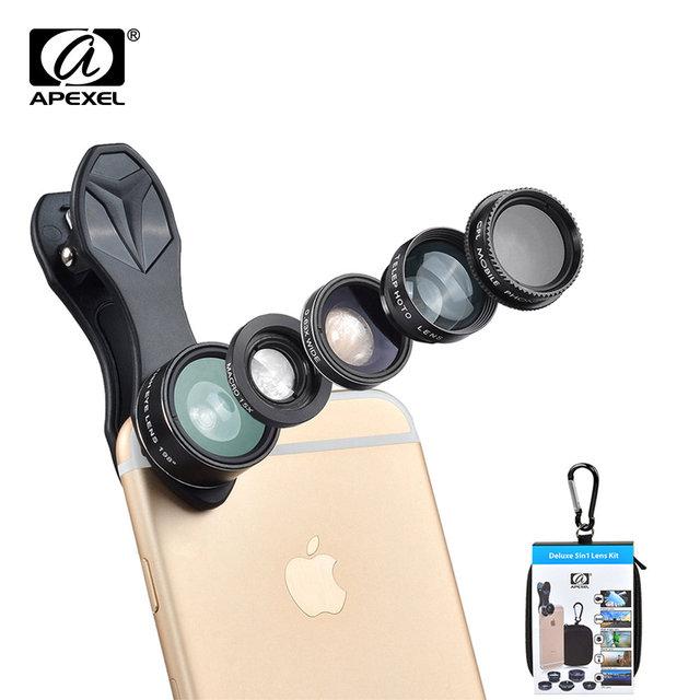 Deluxe Universal 5 en 1 Lente de la Cámara de Ojo de Pez Kit para Smartphone macro y gran angular cpl y 2x tele objetivo para xiaomi iphone DG5