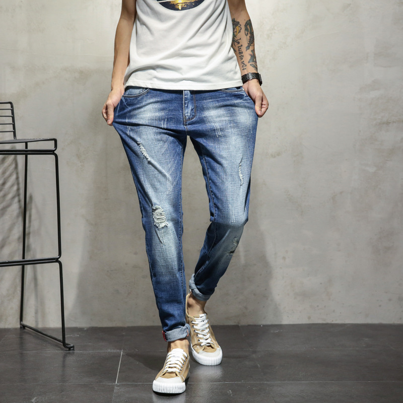 new 2018 mens denim trousers ripped jeans and feet cultivate ones morality stretch jeans