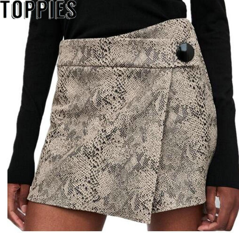 2019 Women Snake Print   Short   Skirt High Waisted Sexy Mini Skorts Retro High Street Skirt   Shorts