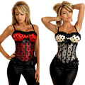 Nove Tamanho Mulheres Shaper Intimate Sexy Bustiers Bowknot Voile Lace Corpete Zipper Corpete Corselet
