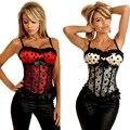 Nueve Tamaño Mujeres Intimate Shaper Bustiers Sexy Bowknot Del Cordón de La Gasa Ramillete Zipper Corpete Corselet