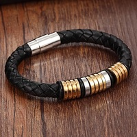 XQNI Brand Black Genuine Leather Gold Trendy Charm Bracelet Men Gift Magnet Punk Rock Jewelry Stainless