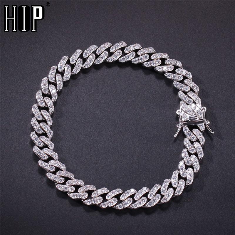 Hip Hop 8MM Bling Iced Out AAA Cubic Zirconia Bracelet Geometric CZ Stone Tennis Cuban Chain Bracelets Men Women Jewelry