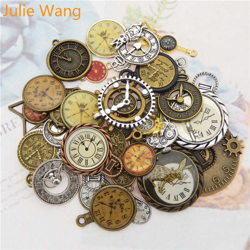 Julie Wang 10pcs Random Mixed Clock Watch Face Charms Alloy Necklace Pendant Finding Jewelry Making Steampunk Accessory(China)