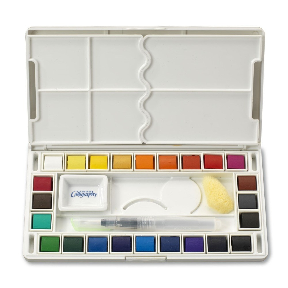 18/36 Color Solid Watercolor Pigment Contains Watercolor Pens and Sponges Transparent Watercolor Pigment Artist S japan holbein expert level transparent watercolor seven gods 12 colors 1 2ml solid watercolor trial tray dispensing plate