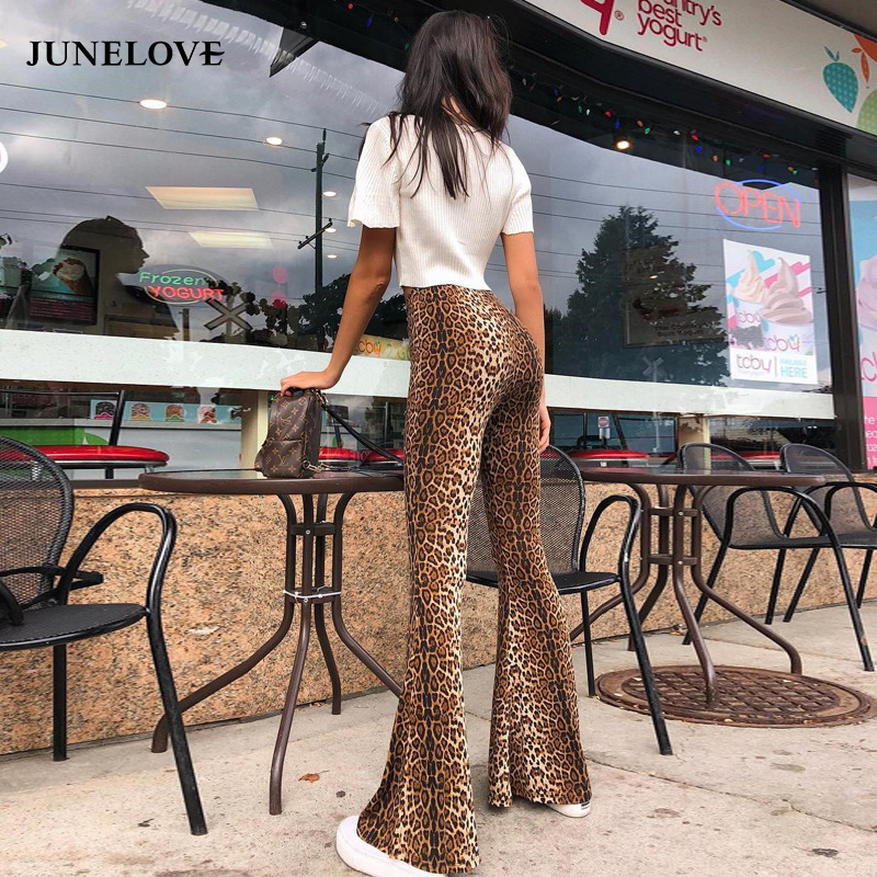 JuneLove desgaste das mulheres impressão de cintura alta ampla legged calças de leopardo sexy falre casuais calças skinny tornozelo-comprimento calças bottoms
