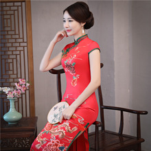 Red Elegant Chinese Style Evening Dress Vintage Women Sexy Flower Qipao New Arrival Handmade Button Long Cheongsam