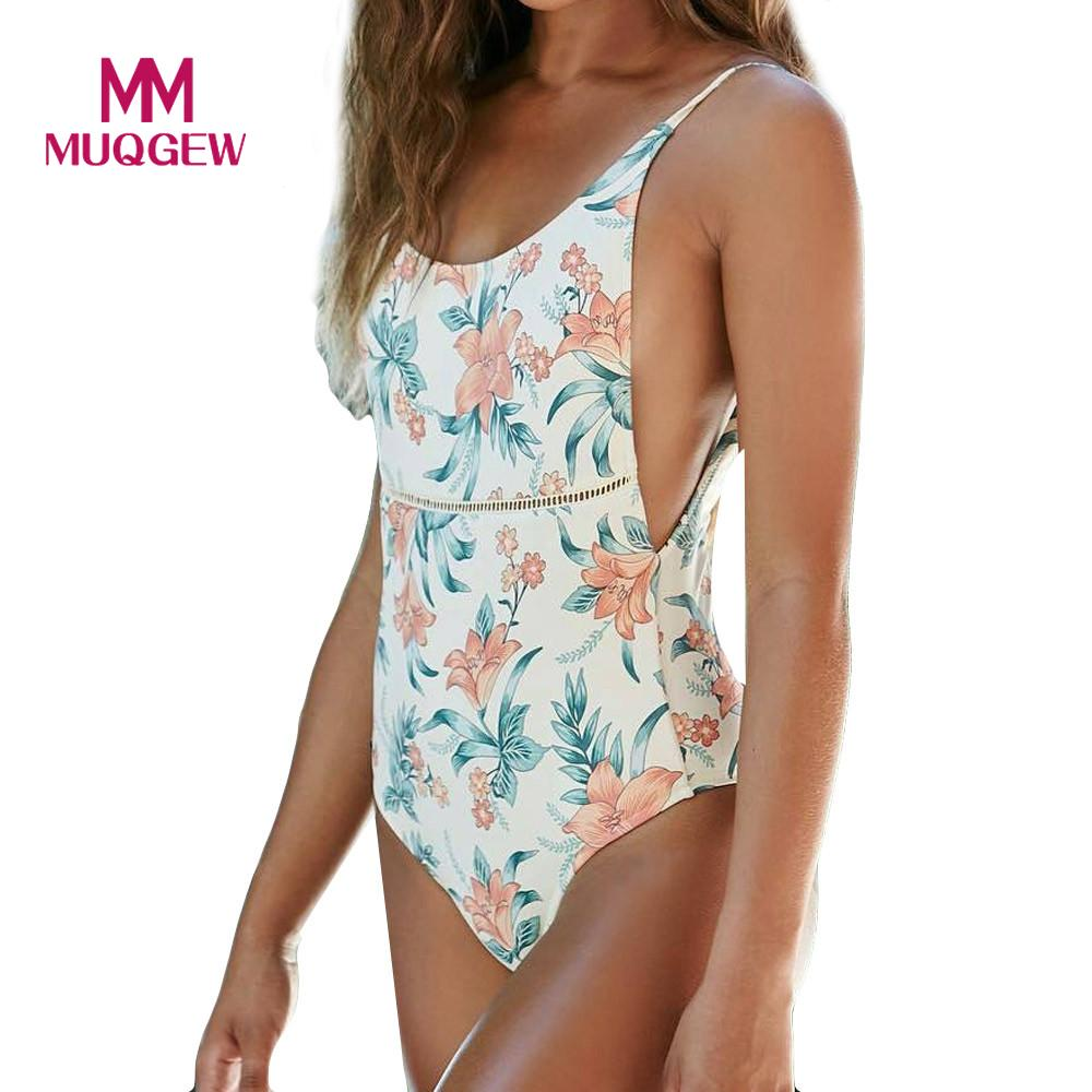 MUQGEW 2018 One Piece Swimsuit Sexy Swimwear Floral Printed Push Up Padded Bra Bodysuit Monokini Women Bathing Suit Jumpsuit