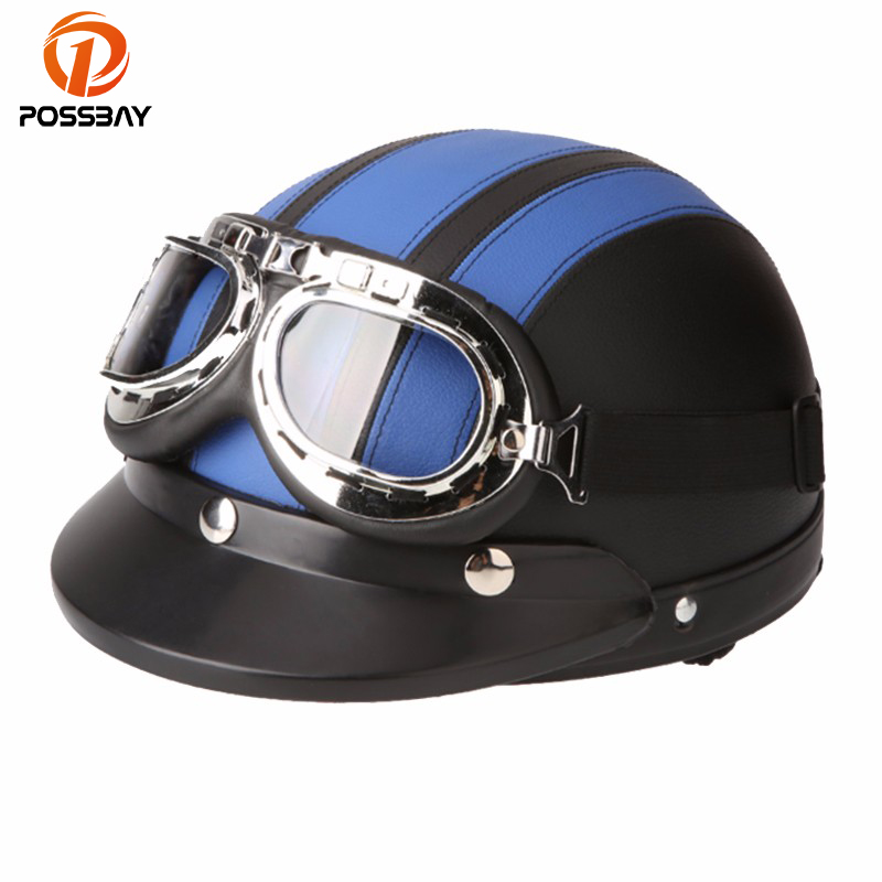 POSSBAY Half Open Face Motorcycle Helmet Scooter with Visor UV Goggles Capacete Casco Moto Retro Helmets Vintage for kawasaki