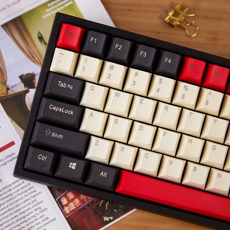 US $84 99 |Keycool 84 mini mechanical keyboard cherry mx clear switch brown  PBT keycap mini84 compact game keyboard detachable cable-in Keyboards from