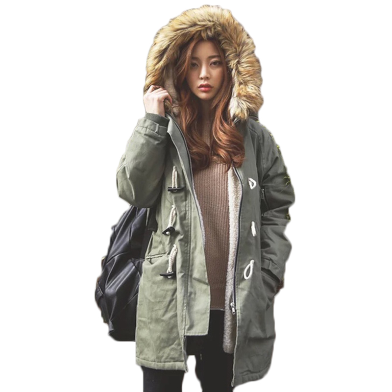 Parka Women Winter Jacket 2017 New Thick Lambwool Coat Fashion Fur Collar Hooded Warm Long Overcoat For Female Outwear QW716 dreak the new outdoor men s thick down jacket collar mens winter parka jacket coat lightweight jacket outwear overcoat