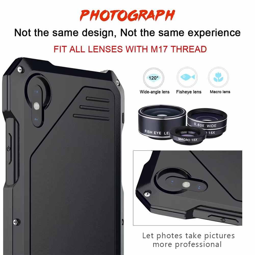 "R-JUST водонепроницаемый чехол для Iphone Xs Max Xr, чехол для телефона и объектив камеры ""рыбий глаз"", Чехол для телефона, чехол для Iphone Xs Max Xr, противоударный чехол"