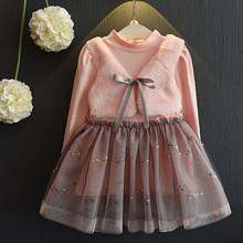 2017 New Long Sleeve Girl Dress Autumn Dresses Children Clothing Princess PinkWool Bow Design Girls Clothes