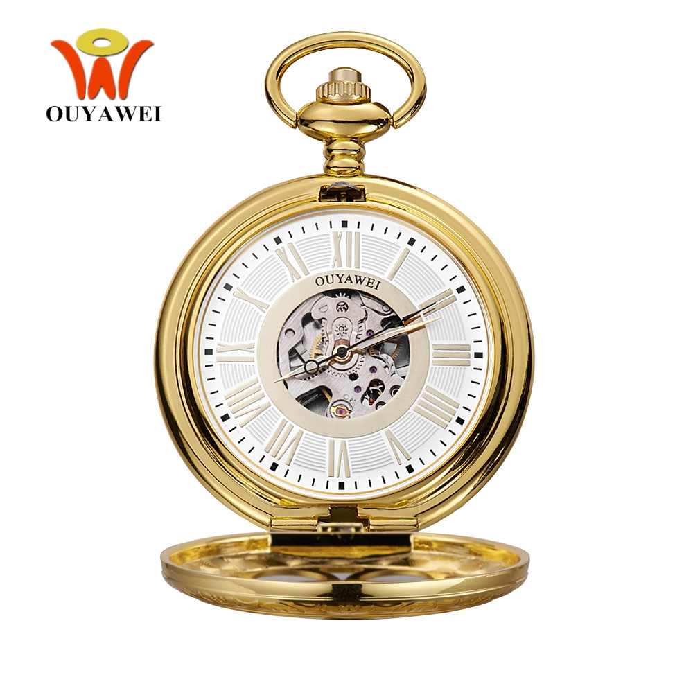 NEW Arrival Fashion Brand OYW Mechanical Pocket Watch Men Male Full Steel Case Pocket Fob Watch Analog Clock Steampunk Relogios