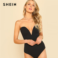SHEIN Sexy Sweetheart Bustier Bodysuit Black Sleeveless Backless Plain Rompers With Lining 2018 Summer Skinny Bodysuit