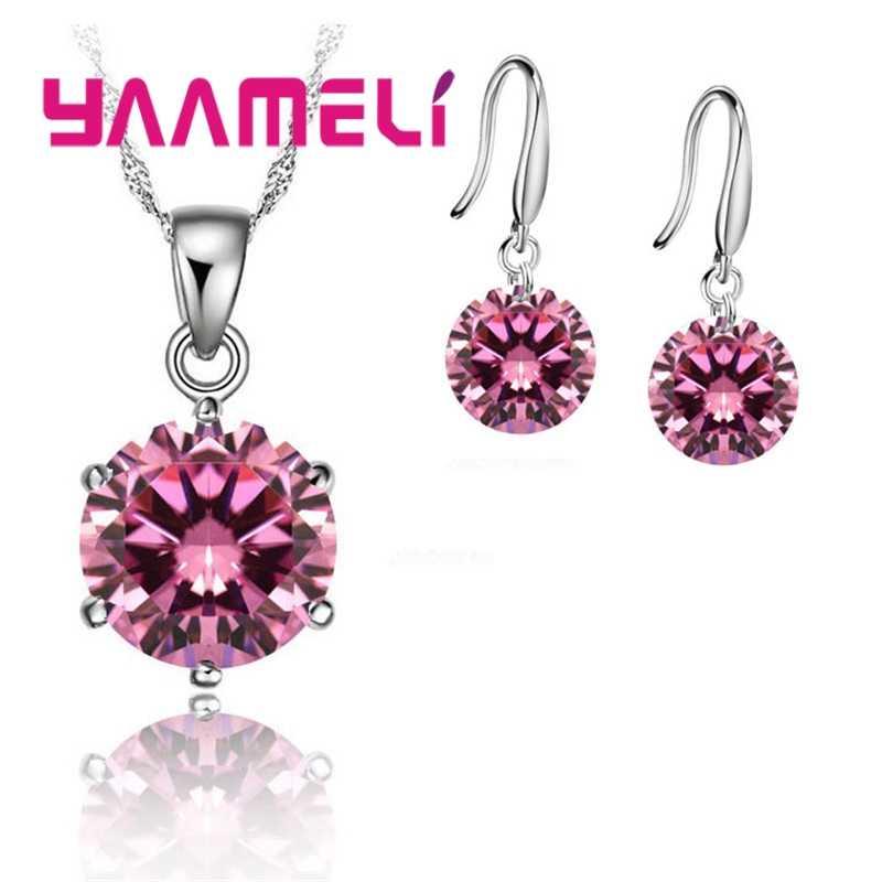 925 Sterling Silber Kristall Bunte Schöne Luxus Romantische Stil Halskette Ohrringe Set Weihnachten Überraschung Geschenk