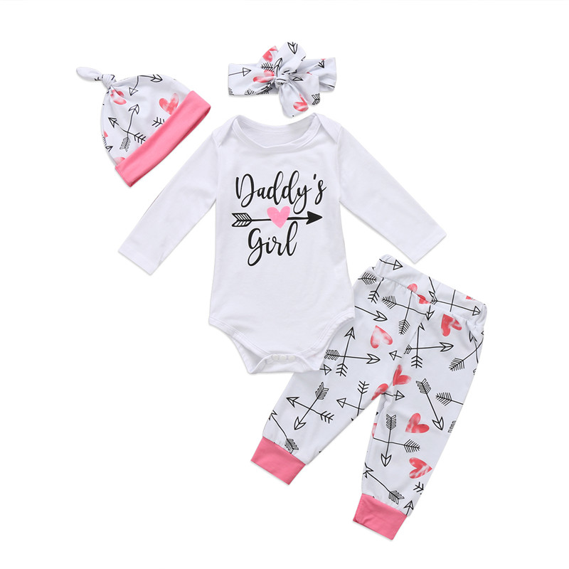 Newborn Baby Girls Clothes Set Autumn White Long Sleeve Letter Bodysuit Pants Hat Headband Girl Clothing Cotton Outfits 4PCs new born baby girl party clothing sets 1st birthday outfits baby body as gift bodysuit tutu bloomers headband 3pcs clothes set