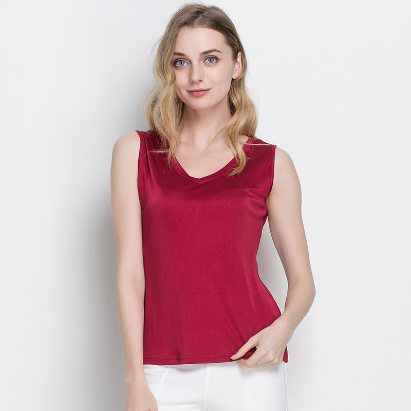 Summer Women 100% Real Silk   Tank     Tops   Casual Knitted Shirts Comfortable Breathable Loose V-neck T-shirts 1046