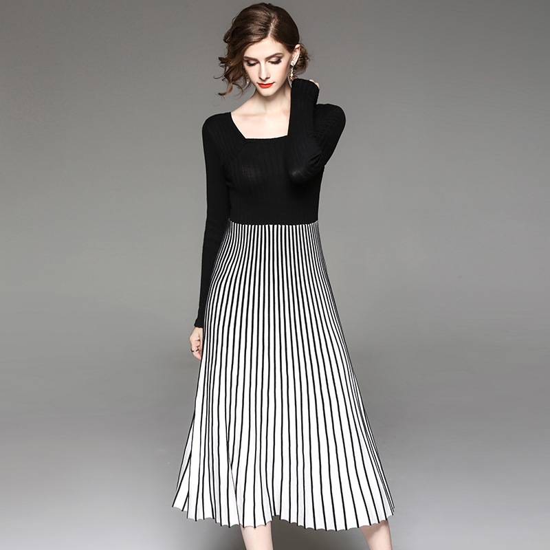 2018 Spring Autumn Women High Fashion O-Neck Long Sleeve Knitted Patchwork Full dress Female Elegant Stripe Long Dress Brand Hot iadoaixnal knitted patchwork floral print belt slim full sleeve women dress summer o neck asymmetrical vintage female long dress