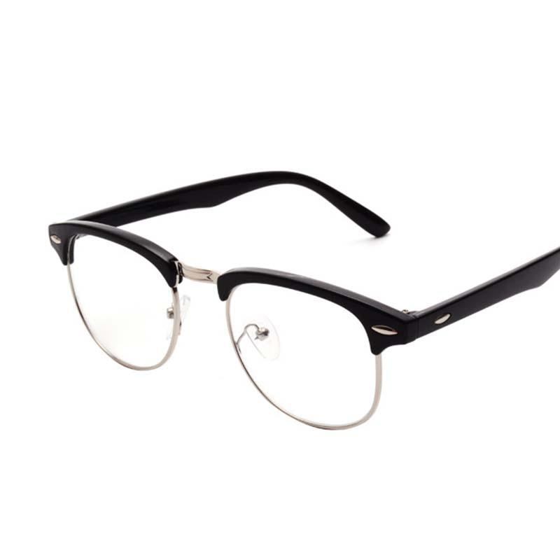 2017 Retro Brand Men Half Frame Fashion Glasses with Clear Lenses Man Johnny Depp Nerd Optical Women Computer Eye Glasses Frames reflection