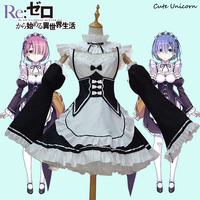 Ram Rem Cosplay Costume Maid Servant Dress Re Zero Kara Hajimeru Isekai Seikatsu Re Life In